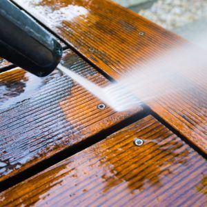 Pressure washing decking
